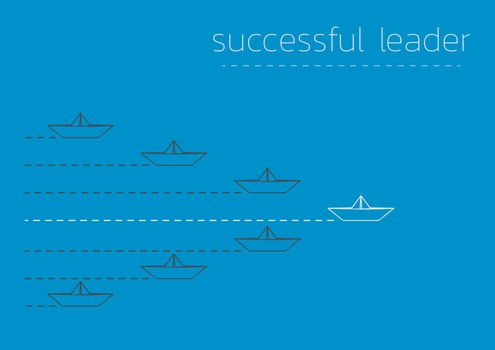 successful leader with a folded paper steamboat
