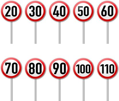 Speed Limit Sign Set isolated