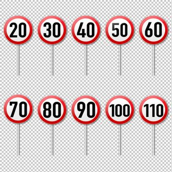 Speed Limit Sign Set isolated Transparent Background