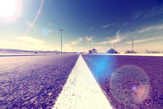Horizon landscape scenery and sunbeam highway