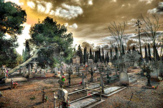 churchyard and Christian religion.