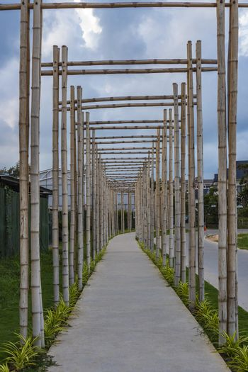 A pathway with bamboo gates in Phu Quoc, Vietnam