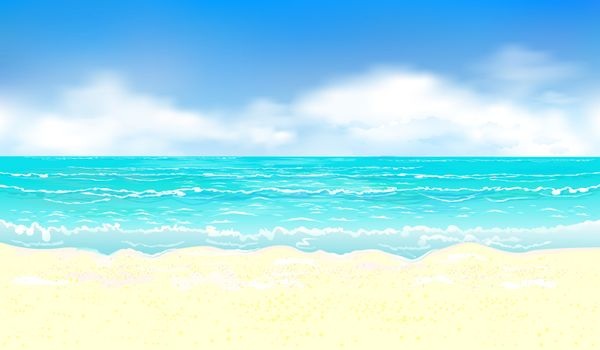 Landscape of the tropical coast. Sea shore landscape. Ocean, sky, clouds, sand.