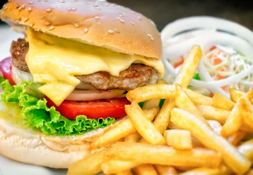 Delicious Homemade Cheeseburger with French Fries and Onion Salad
