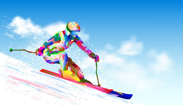 Colorful figure-silhouette of a skier on skis. Athlete skier against the sky and the sun. The athlete on mountain skiing is active, performs downhill and slalom.