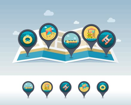 Summer pin map icon located on map. Vacation
