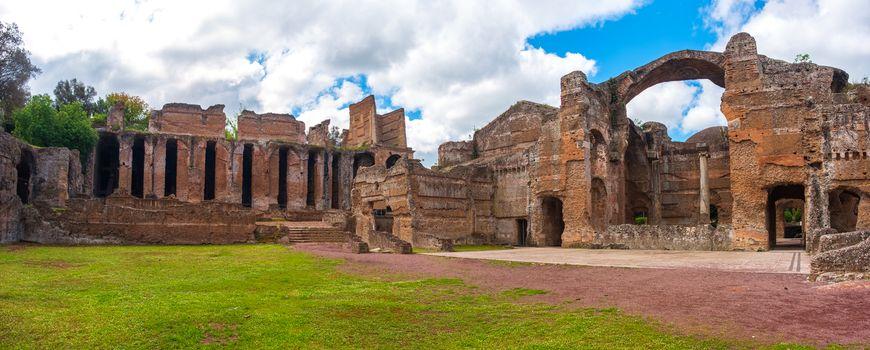 Roman ruins panoramic Grand Thermae or Grandi Terme area in Villa Adriana or Hadrians Villa archaeological site of UNESCO in Tivoli - Rome - Lazio - Italy