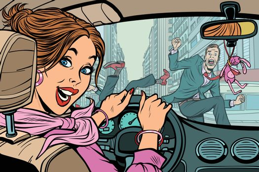 Joyful woman driver, accident on road with pedestrian