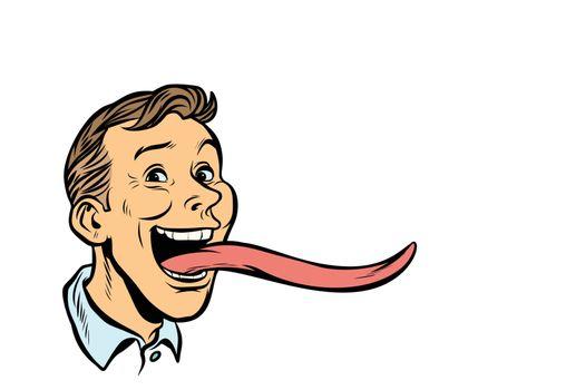 man with a long tongue