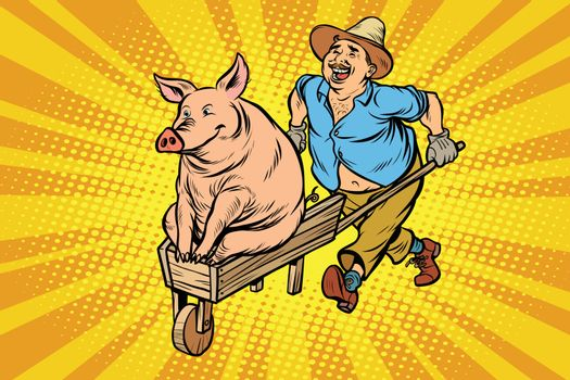 A farmer is transporting a pig on a wooden wheelbarrow