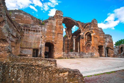 Hadrian s Villa in  Tivoli - near Rome - archaeological landmark in Italy .