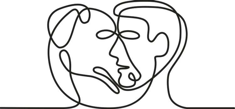 Continuous line illustration of head of a dog and a man facing each other viewed from side done in black and white monoline style.