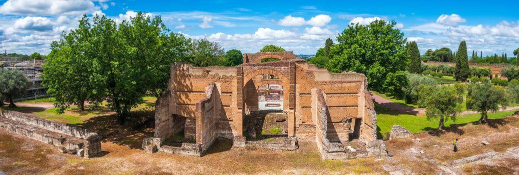 Tivoli - Villa Adriana cultural Rome tour- archaeological landmark in Italy panoramic horizontal of Three Exedras building .