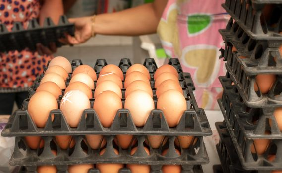 Organic Brown Chicken Eggs in Local Market