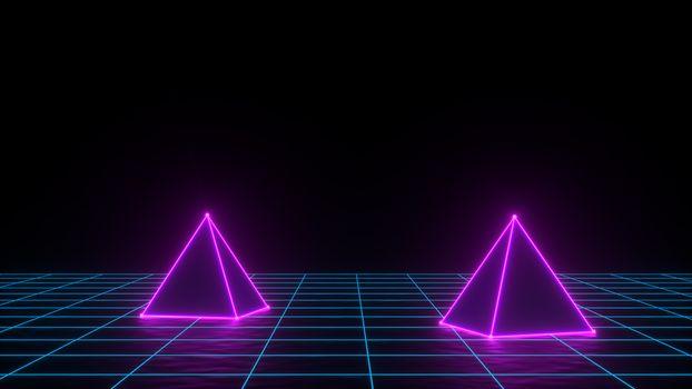 3d render of neon pyramid on grid background. Banner design. Retrowave, synthwave, vaporwave illustration.