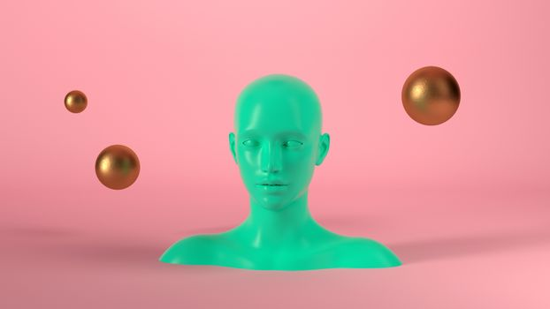 Abstract mannequin female head with golden spheres balls on background. Fashion woman. Green human face. 3d render