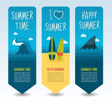 Ocean wave, shark fin and surf. Summer Travel and vacation vector banners. Summertime. Holiday