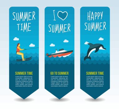 Water skiing, speed boat and dolphin. Summer Travel and vacation vector banners. Summertime. Holiday