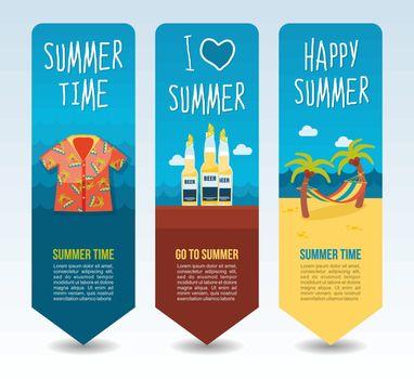 Hawaiian shirt, bottle beer and beach hammock palm. Summer Travel and vacation vector banners. Summertime. Holiday
