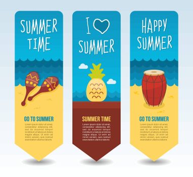 Maracas, drum and pineapple. Summer Travel and vacation vector banners. Summertime. Holiday