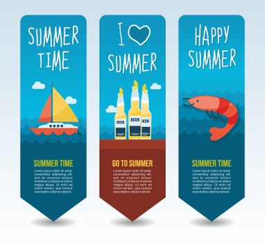 Sail boat, bottle beer and shrimp. Summer Travel and vacation vector banners. Summertime. Holiday
