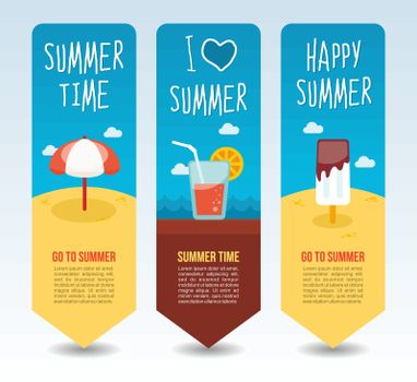 Beach umbrella, ice cream and cocktail. Summer Travel and vacation vector banners. Summertime. Holiday
