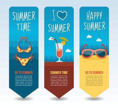 Sunglasses, swimsuit and tropical cocktail. Summer Travel and vacation vector banners. Summertime. Holiday