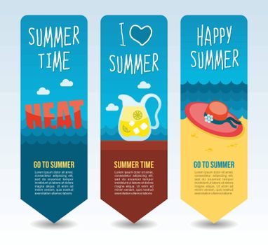 Heat, beach hat and jug lemonade. Summer Travel and vacation vector banners. Summertime. Holiday