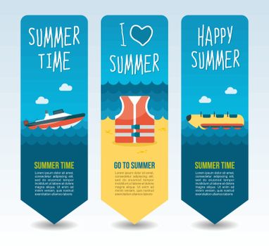 Life jacket, speed boat and yellow banana. Summer Travel and vacation vector banners. Summertime. Holiday