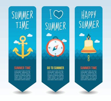 Anchor, compass and bell ship. Summer Travel and vacation vector banners. Summertime. Holiday