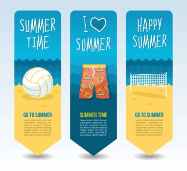 Beach shorts, volleyball ball and net. Summer Travel and vacation vector banners. Summertime. Holiday