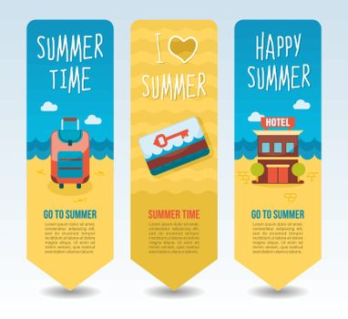 Hotel, baggage and keycard. Summer Travel and vacation vector banners. Summertime. Holiday