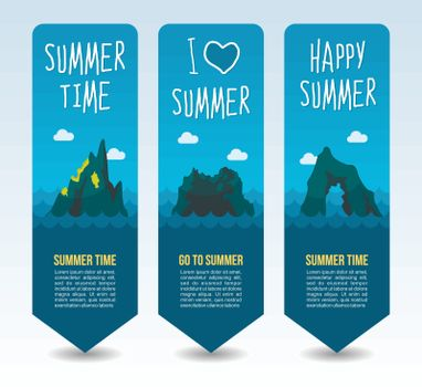 Rock island and cliff. Summer Travel and vacation vector banners. Summertime. Holiday