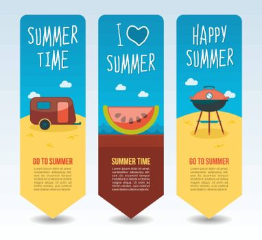 Slice watermelon, camping trailer and grill barbecue. Summer Travel and vacation vector banners. Summertime. Holiday