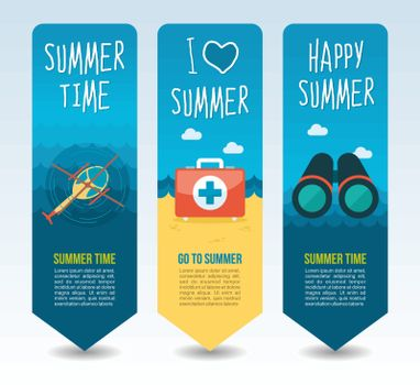 Binocular, helicopter and medical aid kit. Summer Travel and vacation vector banners. Summertime. Holiday