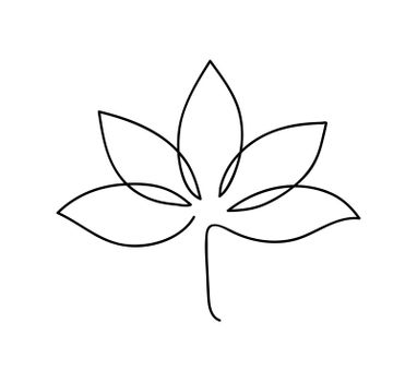 Lotus icon. Logo outline illustration of lotus flower. Black and white hand drawn line art style.