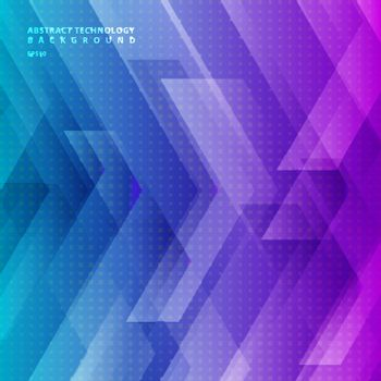 Abstract blue and purple gradient color tech diagonal geometric background with big arrows sign digital and stripes technology concept. Space for your text. Vector illustration
