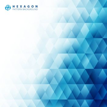 Abstract blue geometric hexagon pattern white background and texture with copy space. Creative design templates. Vector illustration