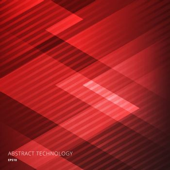 Abstract elegant geometric triangles red background with diagonal lines pattern. Technology style. Vector illustration