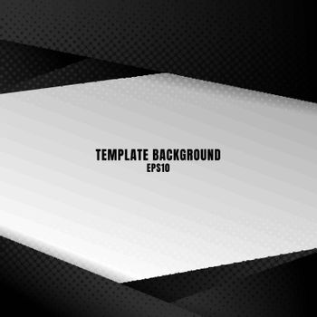 Template black and white geometric background with halftone texture. You can use for design print, brochure, poster, banner, website, Presentation. Vector illustration