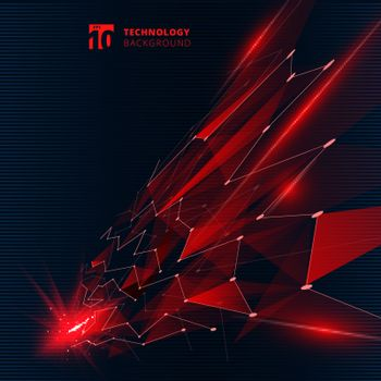 Abstract technology red color triangles with lighting effect lines connecting dots structure perspective on dark background. Vector illustration