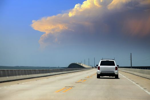 Beautiful endless road from Miami