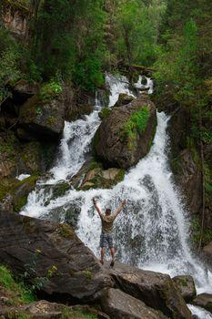 Waterfall in Altai Mountains territory, West Siberia, Russia