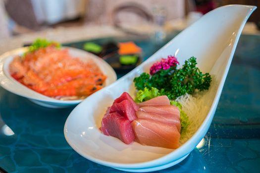 Japanese Food - A Plate Tuna and Salmond Sashimi