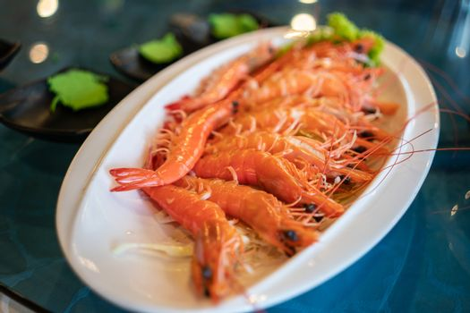 A Plate of Cooked Prawn in a Restaurant
