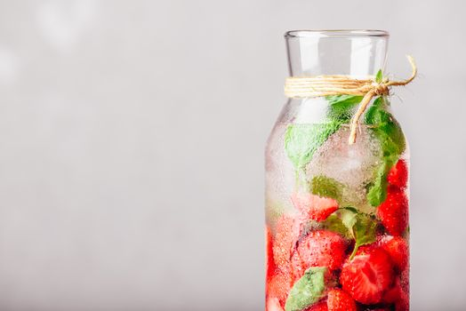 Water Flavored with Strawberry and Basil.