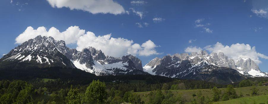 panorama of the wilder kaiser mountain range in austria