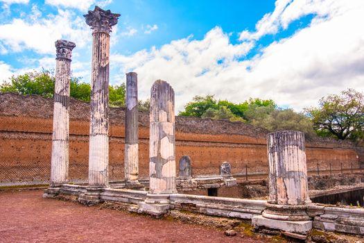 Roman columns at Villa Adriana in Tivoli - Lazio - Italy .
