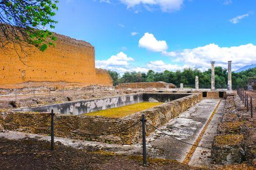 Peschiera fishpond ruins in roman archaeological site of VIlla Adriana or Hadrian Villa in Tivoli Rome - Lazio - Italy .