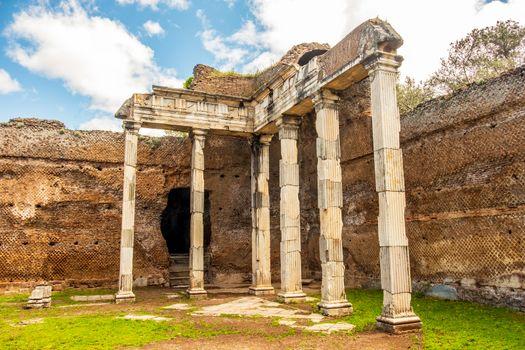 Villa Adriana roman ruins columns - Rome Tivoli - Italy .